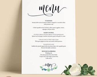 Wedding Menu Sign / Wedding Menu Poster / Menu Dinner Sign / Printable Greenery Wedding / Editable PDF Template / 3 SIZES #PTL10_03_16