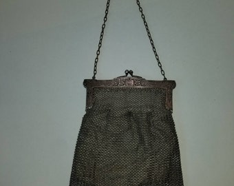1910s Whiting and Davis Style Antique German Silver Chain Link Mesh Flapper Purse