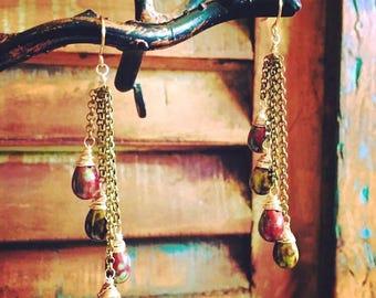 Jasper Waterfall Earrings