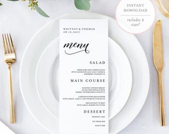 Wedding Menu Template. Menu Card Template. Printable Wedding Menu. Printable Menu. Editable Wedding Menu Template. 5x7 Menu Template. (BR)