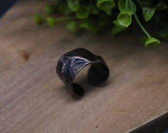 Hammered Air Chased Copper Adjustable Ring