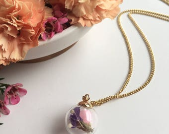 Real Flower Necklace, Real Dried Flowers, Real Flower Jewelry, Glass Globe,Gift for her, Nature Necklace,Bohemian Necklace, Pendant Necklace