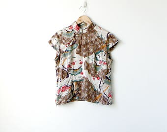 90s Mandarin Collar Silk Top - 90s Clothing - 90s Blouse - Asian Clothing - 90s Top - 90s Silk - Women's L