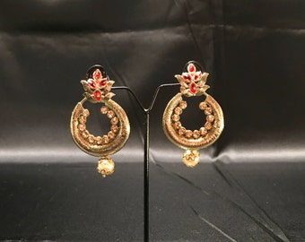 Orange and Antique Gold Chandbali Earrings - Kundan Earrings - Indian Earrings - Pakistani Jewelry - Desi Jewelry - Temple Jewelry - Bridal