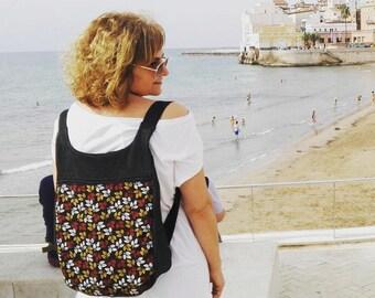 Mochila hojas otoñales mujer: Mochila tejana negra mujer - Bolso mochila mujer - Mochila negra - Mochila de tela - bolso tablet - Hojas