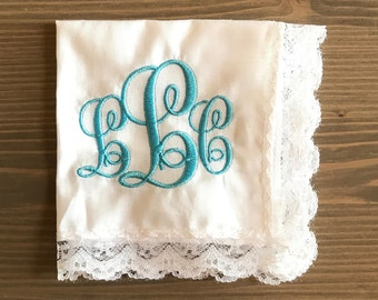 Something Blue Monogrammed Handkerchief