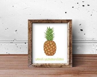 PRINT or DIGITAL | Sweet Summertime Print | Pineapple Print | Pineapple Summer Art | Watercolor