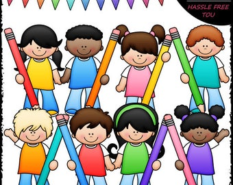 Colorful Pencil Kids Clip Art and B&W Set