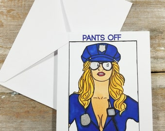 Police Card - Sexy Cop - Police Greeting Card - Sexy Card for Him - Police Officer Gifts for Men - Sexy Greeting Card - Erotic Greeting Card
