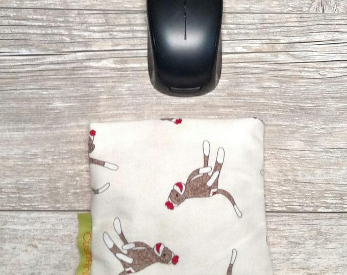 Sock Monkey CushArm Mini Computer Wrist rest, Natural organic comfort, stand up desk