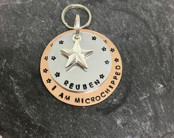 Custom dog tag- Dog collar tag- Dog tags for dogs- I am microchipped tag- chipped dog tag - Pet ID tag- Dog ID- Pet supplies