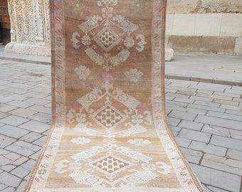 Vintage Oushak Runner Rug,5.5x12,Hallway Rug,Turkish Rug,Muted Colors,Turkish Low Pile Carpet,Anatolian Rug,170x360 cm