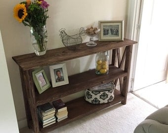 Console Table with Shelf/ Walnut X Console Table with Shelf