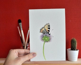 Original watercolour painting 12.5x18cm: Butterfly on wildflower