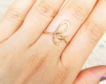 Initial ring, letter B ring, personalized wire initial ring, wire ring, initial b ring, adjustable ring, wire letters, letter ring, B D&D