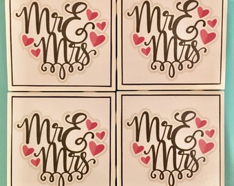 Mr. & Mrs. Just Married Handmade Coaster Set