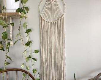 Medium woven dreamcatcher; Wall hanging with fringe; Bohemian macrame tapestry; Textile wall art