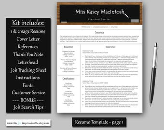 Teacher Resume Template | Instant Download | Microsoft Word (PC compatible) | US Letter and A4 Size | BONUS Job Search Tips & Tracker
