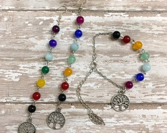 Chakra Earrings and Bracelet, Handmade Jewelry, Tree Jewelry, Chakra Jewelry,Silver Earrings, Dangle Earrings, Jewelry set, Chakra Bracelet