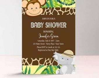 Safari Baby Shower Invitation Printable, Jungle Baby Shower Invitation Gender Neutral, African Animals, Elephant, Instant Download Invite