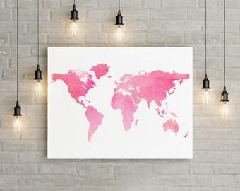 Travel Wall Art pink world map   etsy
