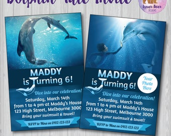 Dolphin Tale Invitation, Dolphin Tale Birthday Party, Dolphin Tale Invite, Dolphin Tale Party, Winter Dolphin Invitation, Dolphin Party