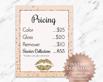 Editable|Gold|Glitter|Blush|Pink|LipSense Price List|LipSense Pricing|SeneGence Pricing|LipSense Printable|LipSense Marketing|LipSense Party