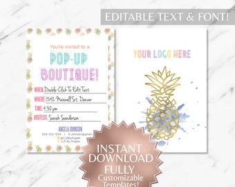 Instant Customizable Pineapple Fashion Consultant and LLR Pop-Up Boutique Invitation TEMPLATE