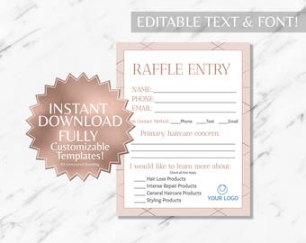 Rose Gold and Blush Pink Hair Salon and Monat Business Raffle Ticket and Contact Card INSTANT Template