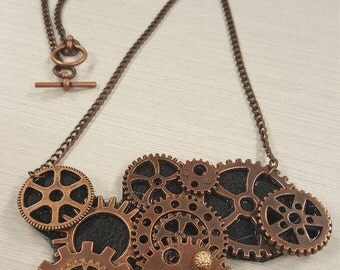 Antique copper steampunk necklace