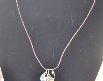 Cancer Zodiac Pendant Leather Necklace with crystal quartz