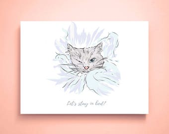 Let's stay in bed Cat print Cat drawing Cat wall art Cat lover gift Cat illustration Fashion print Cat art Bedroom wall art