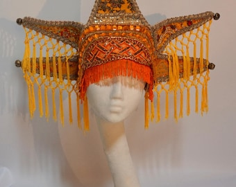 Sun Goddess Tribal Festival Costume Statement Wearable Art Burning Man Headdress Headpiece