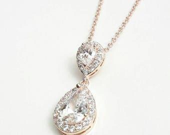 Bridal rose gold necklace, wedding rose gold necklace, Teardrop pendant, Bridal crystal teardrop CZ necklace, bridal jewelry, Crystal jewels