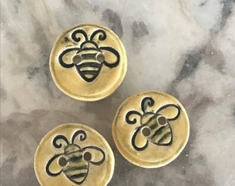 Round Yellow Bee Buttons