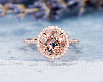 Morganite Engagement Ring Diamond Halo Ring Rose Gold Women Wedding Antique Promise Stacking Eternity Bridal Anniversary Gifts For Her