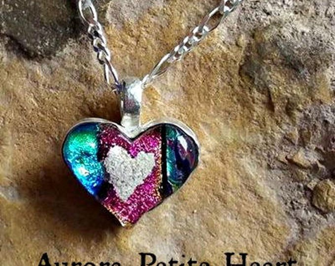 Aurora Heart Memorial Necklace,Bezel Set in Silver, Ashes in Glass, Cremation Jewelry, Pet Memorials, Ashes Necklace