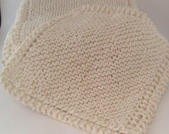 Set of 3 Knitted Cotton Dishcloth Washcloth
