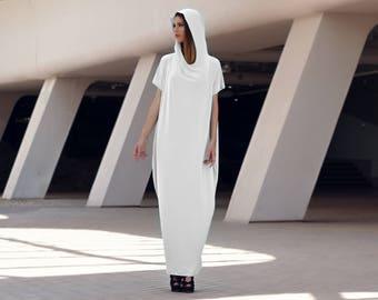 Maxi dress, Hooded dress, White kaftan dress, Trendy maxi dresses, Off white maxi dress, White caftan Dress, Beach sarong, Markiiza