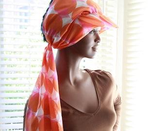 ZONSJAAL 'Pink & Orange Dots' Sun Visor Sunshade Shawl scarf Sun Hat cap headscarf sun beach terrace garden holiday fashionable modern head