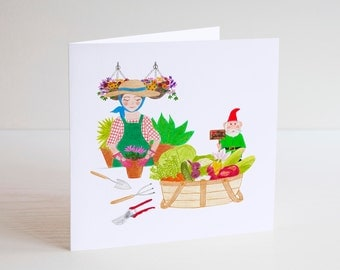Gardener, GREETING CARDS, Garden, Gardening, Gnome, Mothers Day Card, Birthday Card Mum, Blank Cards, Illustrated Card, Art Print Card