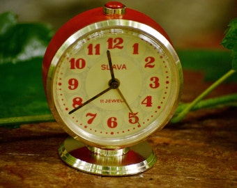 Vintage Soviet Red Alarm Clock,Mechanical Table Clock Slava,Vintage Working Clock,Retro Soviet Table Clock,Old USSR Clock,Anniversary Gift