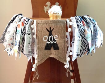 Wild One Birthday High Chair Banner/White and Black/TeePee Fox Aztec Pow Wow Woodland Arrows Camping Theme/Cake Smash/Photo Shoot Prop/Boy