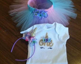 Personalized Embroidered Unicorn One Birthday Onesie Shirt Tutu Set Bodysuit