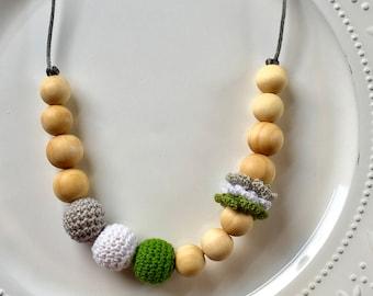 Organic Woodland Forest Mommy Teething / Nursing Sensory Necklace Organically Conditioned Wood Teething Necklace Crocheted Wood Beads