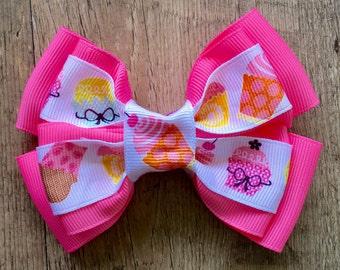 Cupcake Hair Bow - Pink Cupcake Bow - Pink Hair Bow - Cupcake Birthday Bow - Pink Birthday Bow - Birthday Hair Bow - Girls Hair Bow - 4 Inch