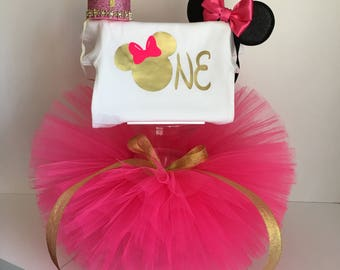 minnie mouse first birthday outfit one, hot pink tutu, fluffy skirt, princess, photoshoot outfit, for baby girl, disney, tutu dress, costume
