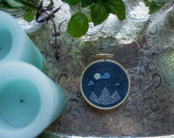 Midnight Moon 3 Inch Mini Embroidery
