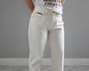 "DKNY 1990s high waisted off white denim jeans // 27"" Waist // Size 8 // Tapered // Cream"