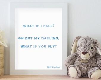 Nursery Art Wall Hanging, nursery decor, kid's room decor, inspirational print, What if you fly, Erin Hanson Wall Art Print, playroom decor